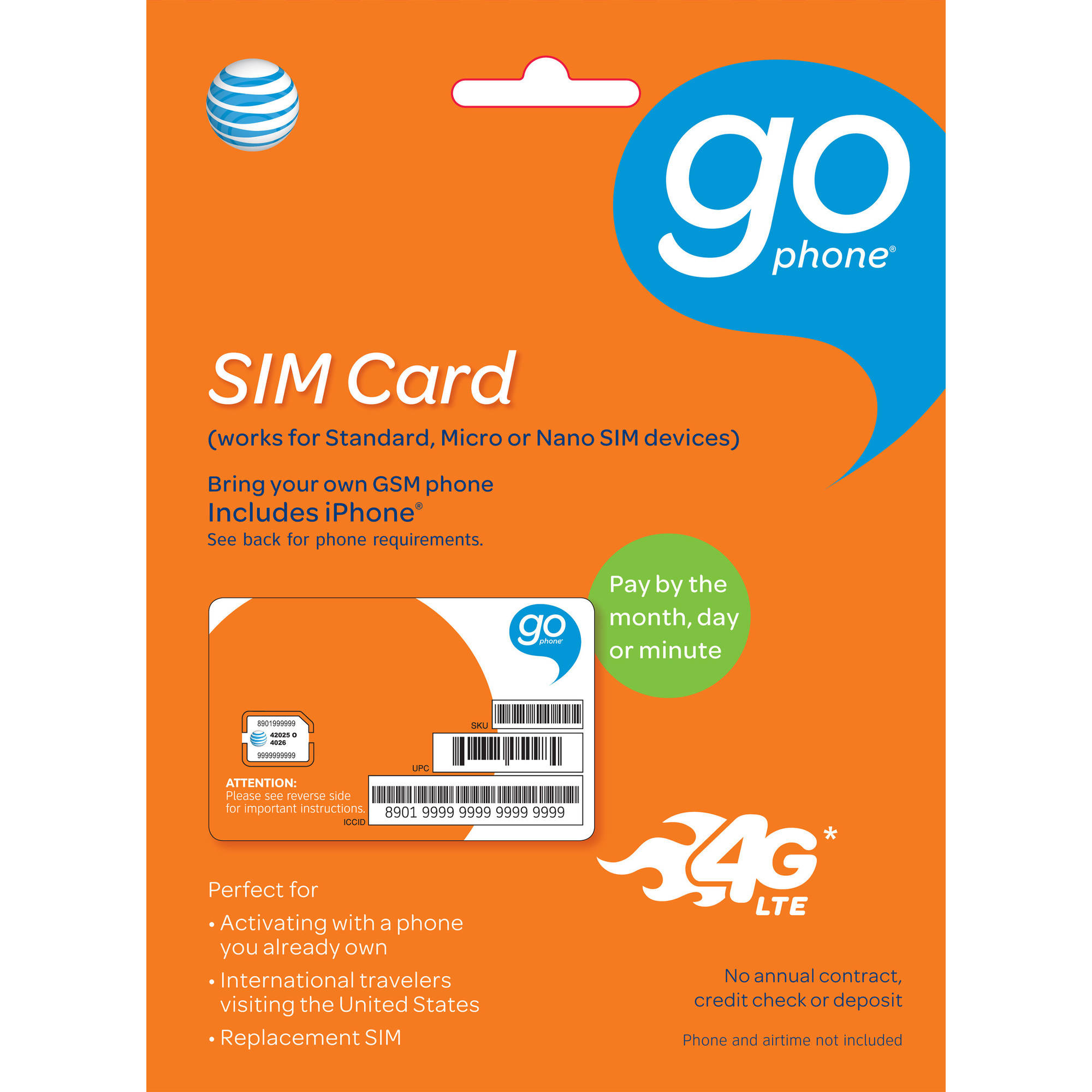 AT&T GoPhone 4FF Micro SIM Starter Kit Plus 2FF/3FF Adapter