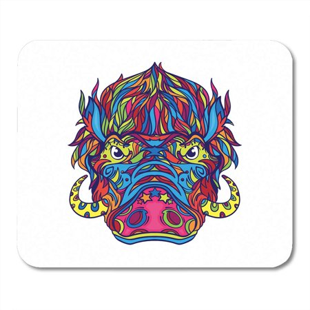 LADDKE Wild Face of Warthog in Line Coloring Book Page Black Boar Pig Angry Mousepad Mouse Pad Mouse Mat 9x10 - Warthog Pig