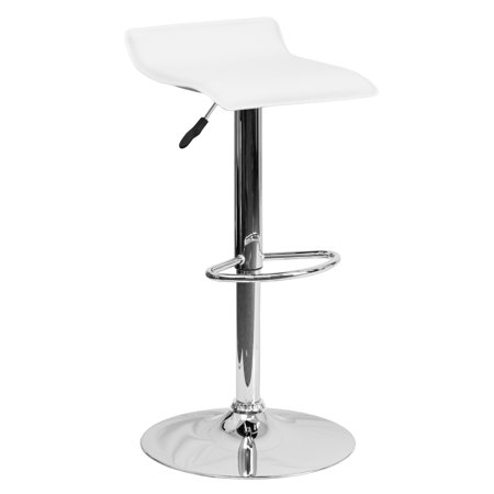 Flash Furniture Contemporary Vinyl Adjustable Height Barstool with Chrome Base, Multiple Colors ()