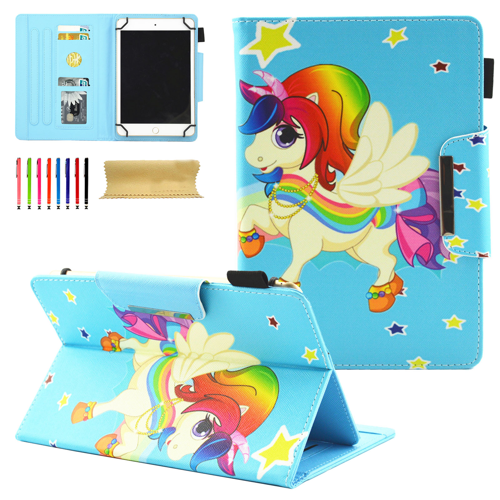 Universal 7 - 8 inch Tablet Case, Goodest Wallet Style Stand Cases and Covers for iPad Mini 1/2/3/4,Samsung Galaxy Tab E,Tab S2 8.0,Tab A,Tab 4 3,Kindle Fire HD 8 2017 2016,LG and More, Star Pony