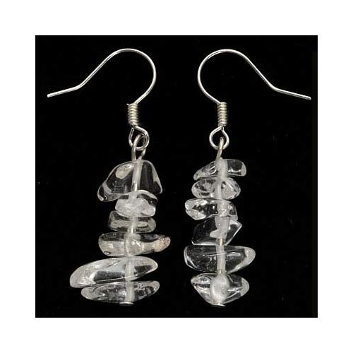 Clear Quartz Chips Silver Plated Drop Earrings (1 Pair)