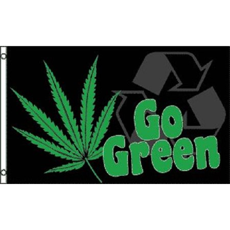 Party Flag Banners (Go Green Marijuana Flag Pot Party Banner Hippie Pennant Sign)