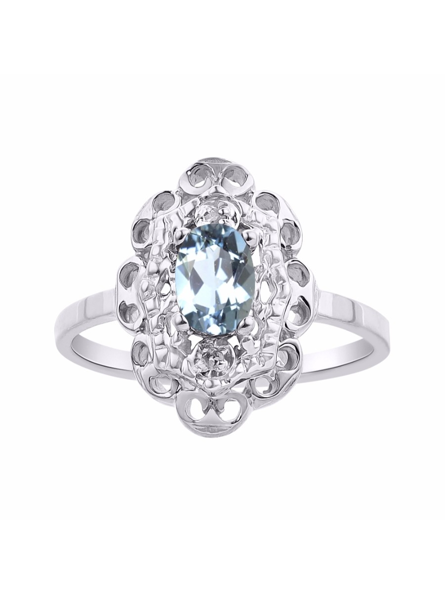 Diamond & Aquamarine Ring Set In 14K White Gold Diamond Halo LR6429AQW-D by Rylos