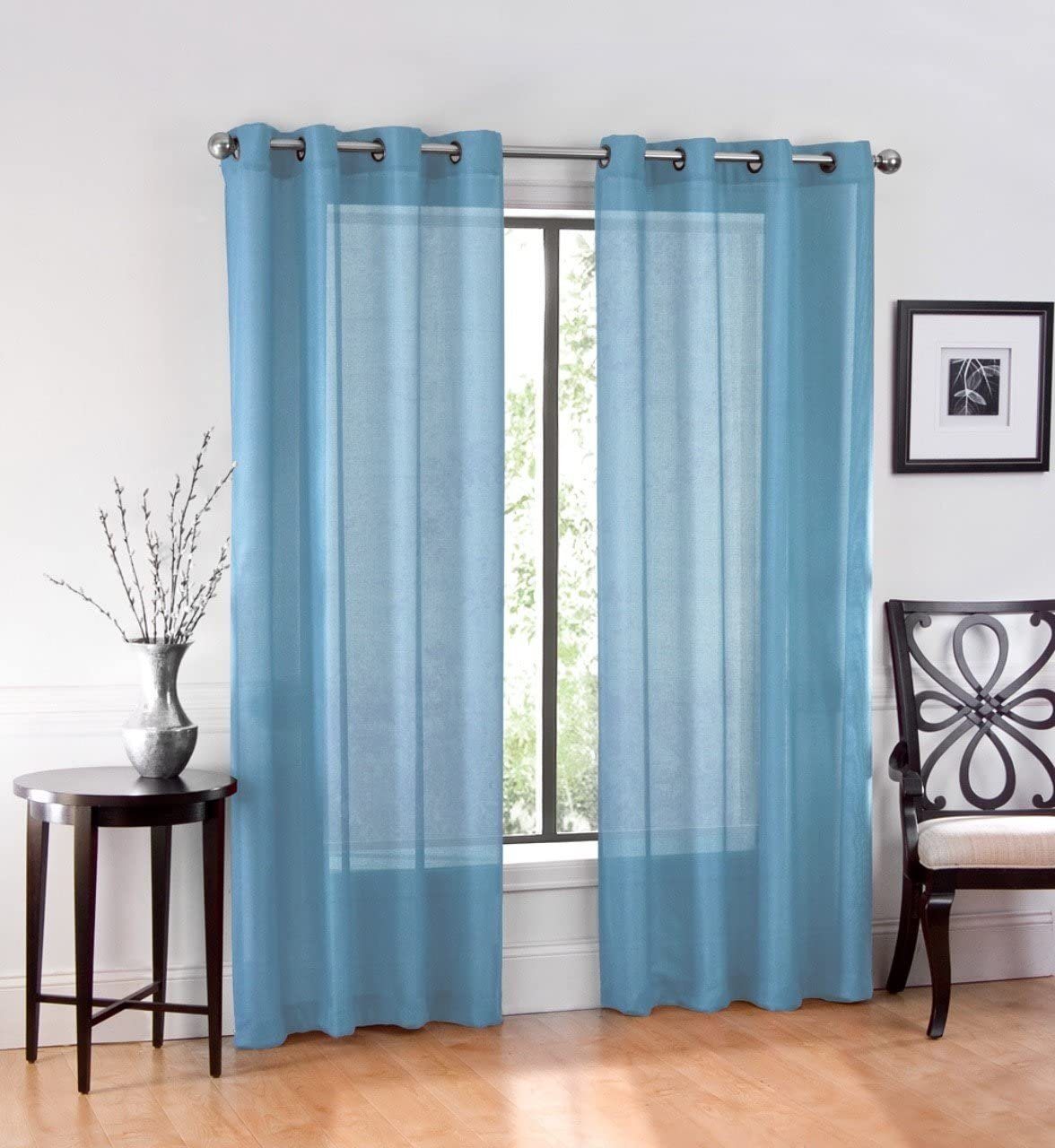 Ruthy S Textile 2 Piece Window Sheer Curtains Grommet Panels 54 X 108 Total 108 X 108 Inch Length For Kitchen Bedroom Living Room Color Blue Walmart Com Walmart Com
