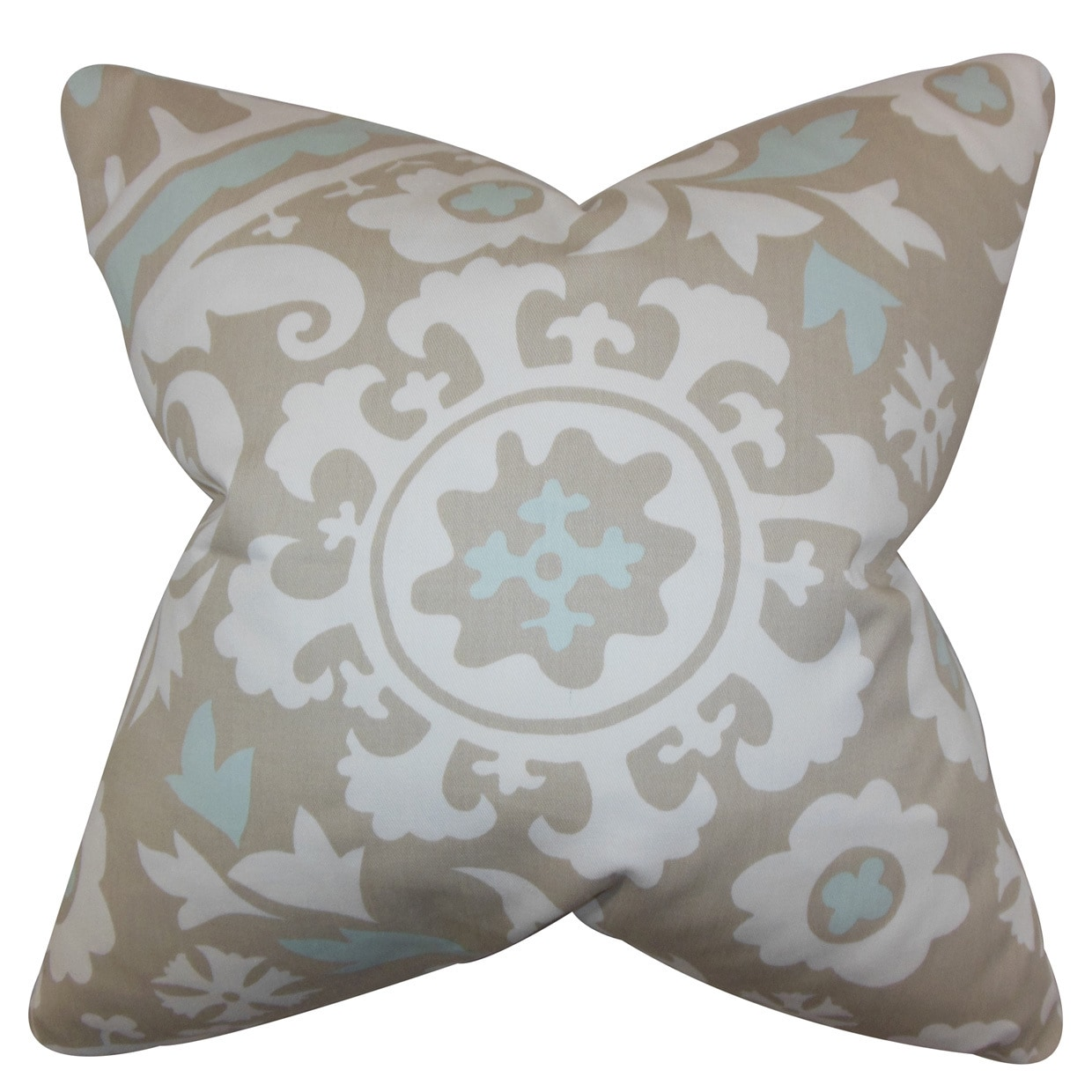 The Pillow Collection Wella Floral 22-inch Down Feather Throw Pillow Powder Blue