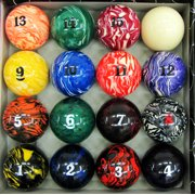 Art Number Marble - Swirl Billiard Pool Ball Set Regulation Size and Weight