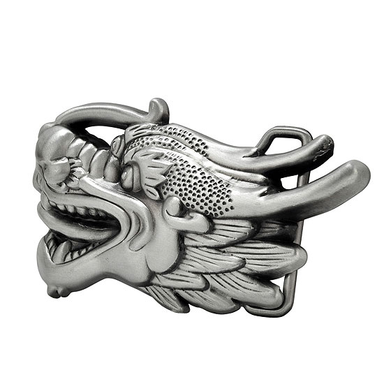Buckle Rage Chinese Dragon Head Brushed Asian Belt Buckle, SILVER, 499