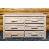 Homestead Collection 6 Drawer Dresser, Clear Lacquer Finish