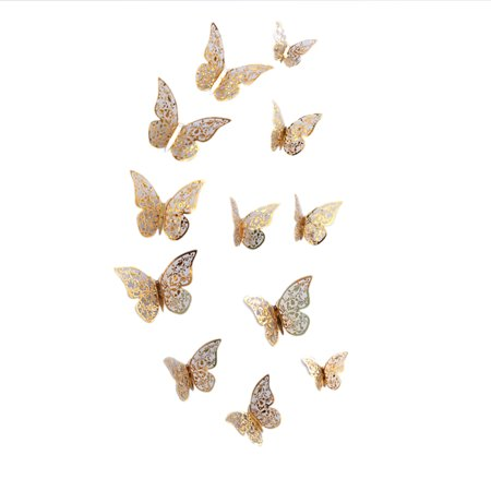 12PCS Creative 3D Hollow-out Butterfly Wall Sticker Elegant Metal Texture Mural Wall Decoration for TV Backdrop Wall Living Room Bedroom Gift Specification:C style gold Hollow Metal Door Specifications