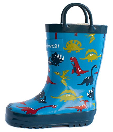 Kids Waterproof Rubber Rain Boots with Easy-On Handles, Blue Dinosaurs