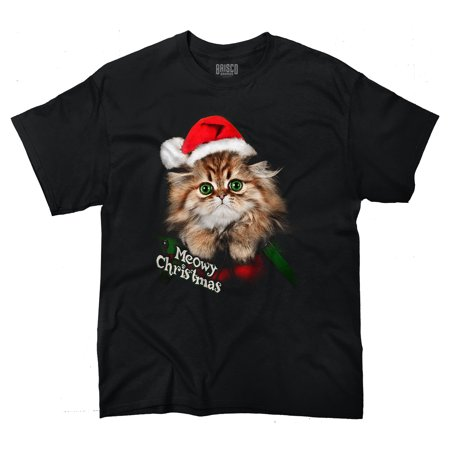 Cat Meow Santa Hat Christmas Gifts Funny Shirts Gift Ideas T-Shirt Tee by Brisco Brands