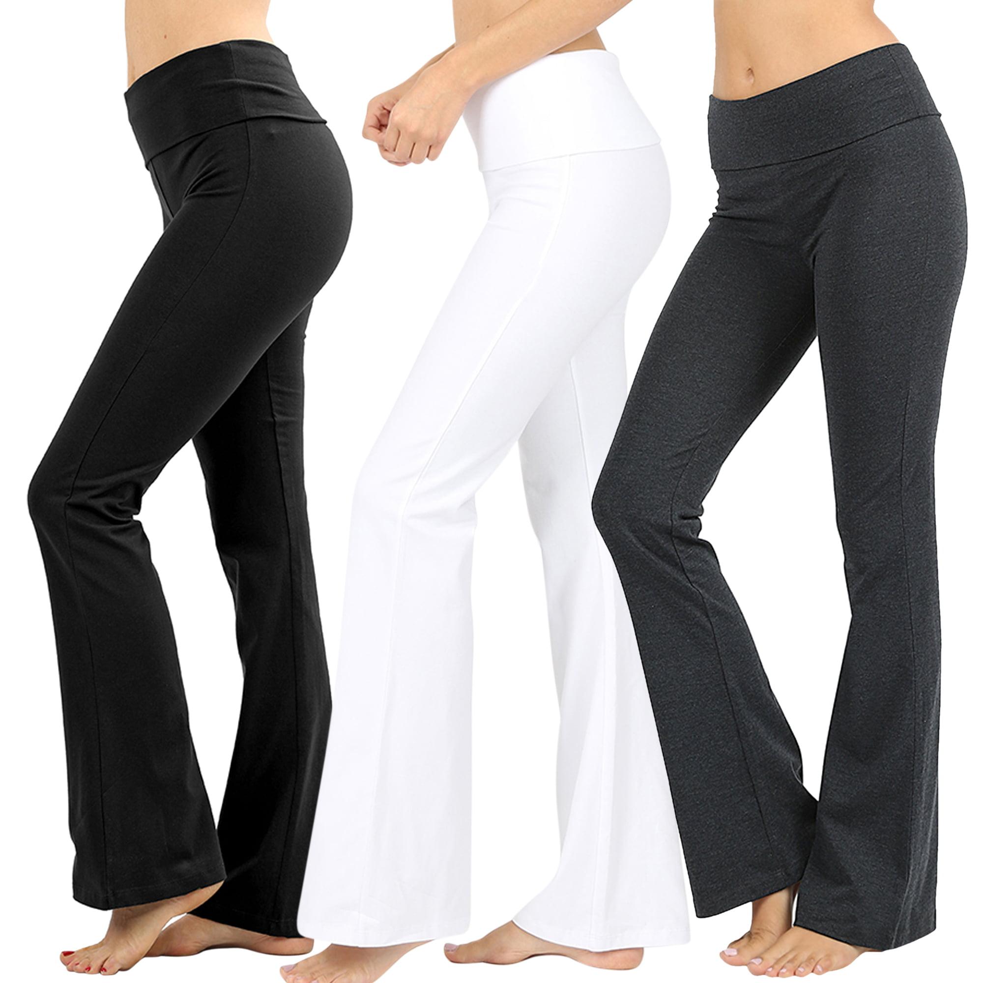 8d9248b232 TheLovely - Womens & Plus Stretch Cotton Foldover Waist Bootleg Workout  Yoga Pants - Walmart.com
