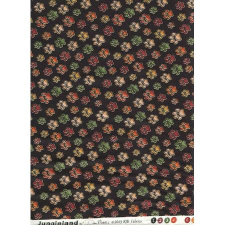 - Dan Morris Jungeland for ~ Cat Paw Print ~ Tiger, Lion, Leopard, Cheetah, Jaguar Paw Print Fabric ~ HALF YARD ~ Patt: #1534 Color #: 2 ~ African Safari Big.., By RJR Fabrics