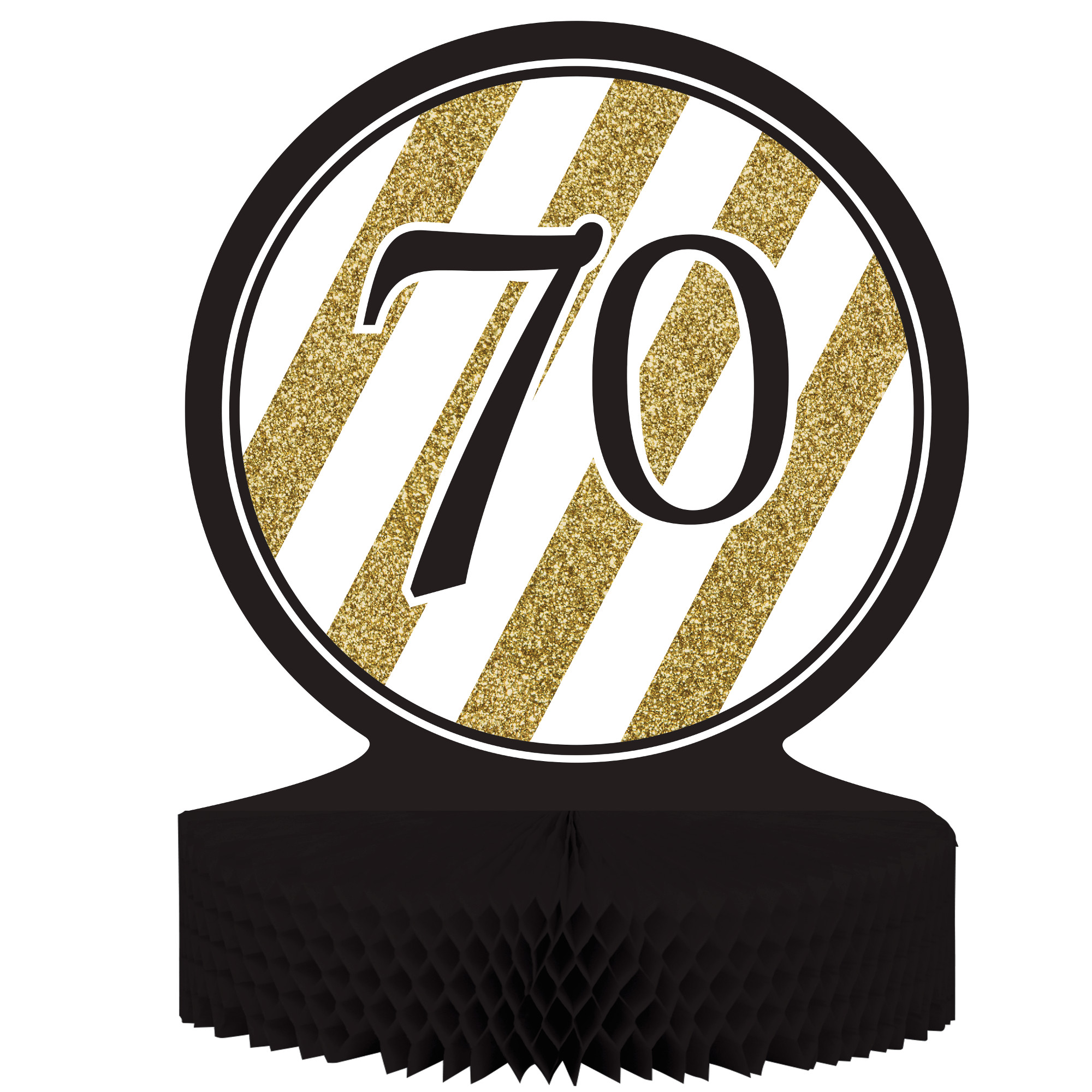 "Black & Gold 70th Birthday Honeycomb Centerpiece 12"" x 9"", Case of 6"