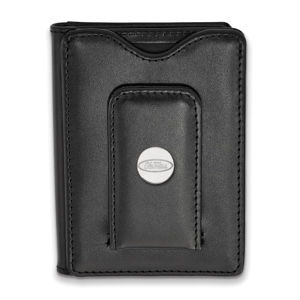 Logo Art Missisippi Black Leather Wallet (Sterling Silver)