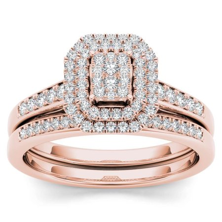 Pink Topaz Cluster - 14k Rose Gold 1/3ct TDW Diamond Cluster Halo Engagement Ring Set - Pink