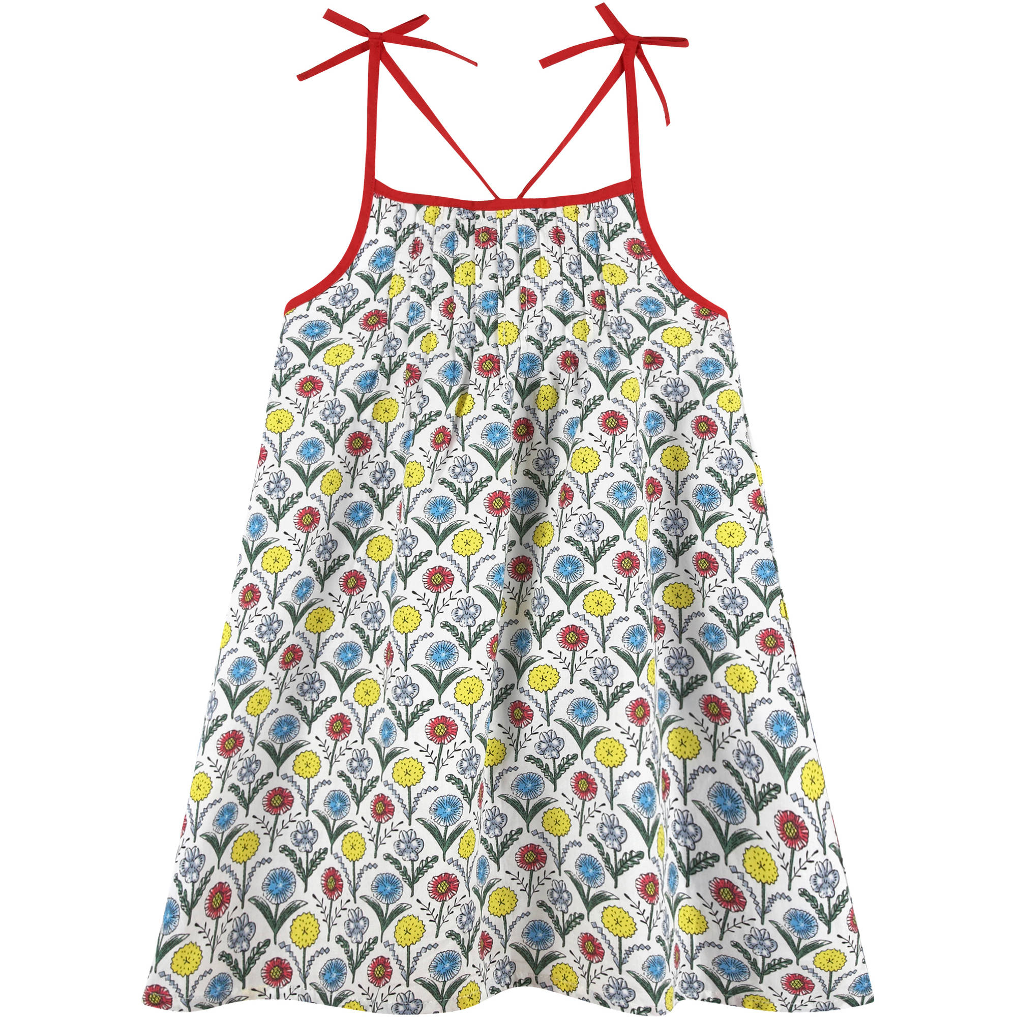 G-Cutee Girls' Floral Dress with Shoulder Ties