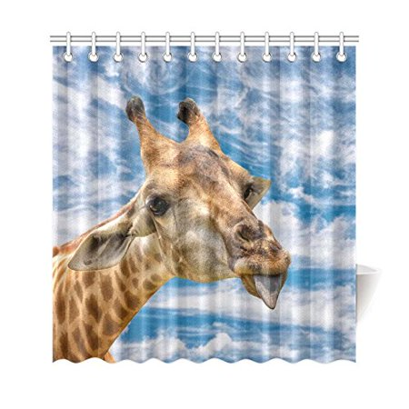 BSDHOME African Wildlife Animal Shower Curtain,Blue Sky Funny Giraffe Polyester Fabric Shower Curtain Bathroom Sets 66x72 Inches - image 3 de 3