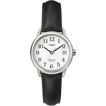 Women's Easy Reader Watch, Black Leather Strap ()