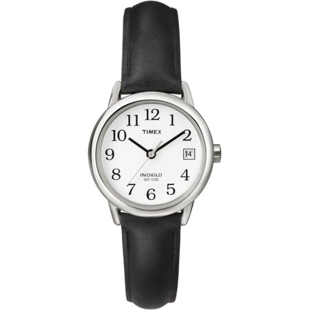 Women's Easy Reader Watch, Black Leather Strap Black Leather Square Watch