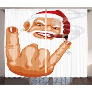 Christmas Curtains 2 Panels Set, Santa Claus Making Mouse Rocker Gesture Smoking A Cigar Noel Humor Celebration, Window Drapes for Living Room Bedroom, 108W X 84L Inches, Multicolor, by Ambesonne