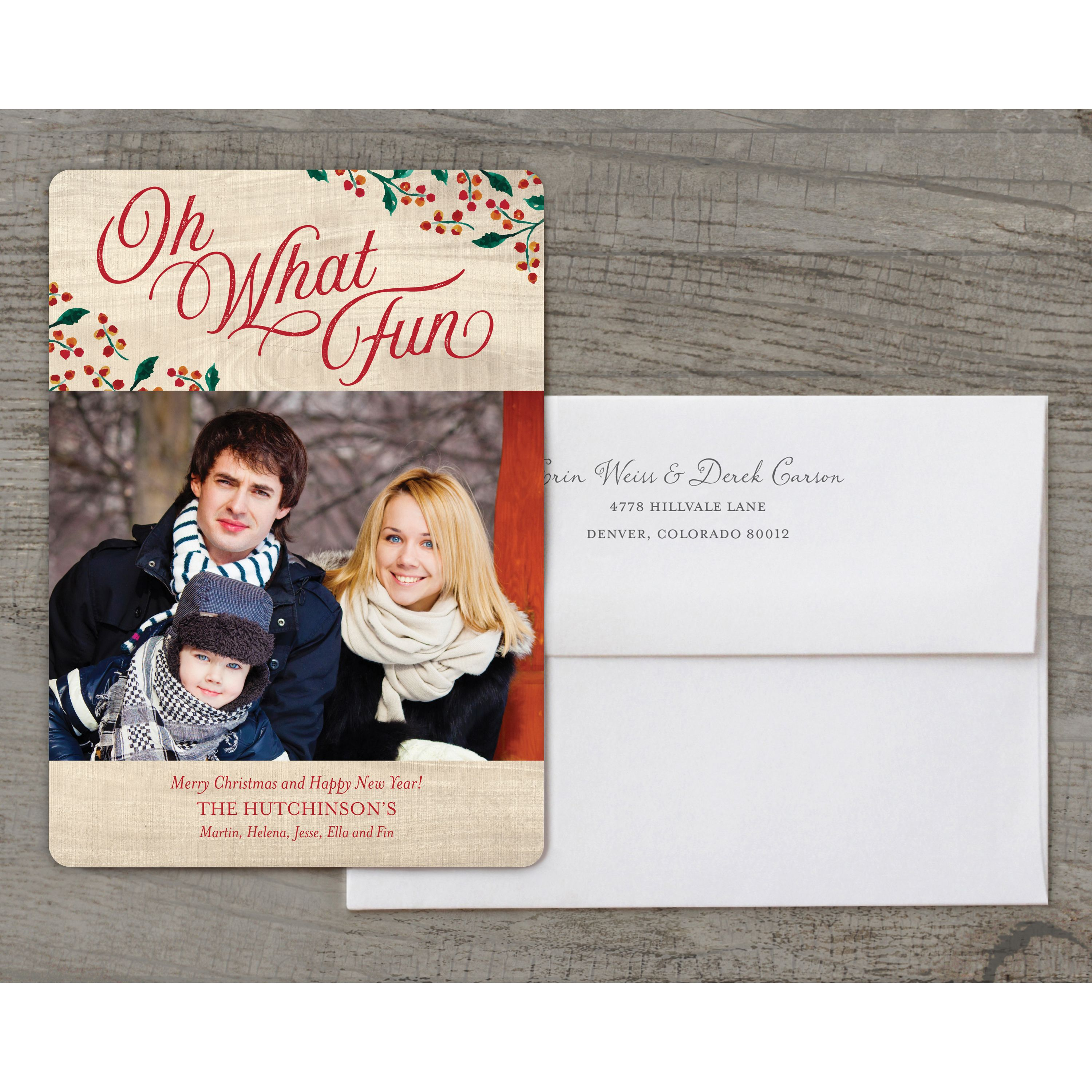 Oh What Fun - Deluxe 5x7 Personalized Holiday Christmas Card