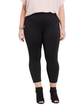 Plus Size Black Stretchy Knit Crop Pant