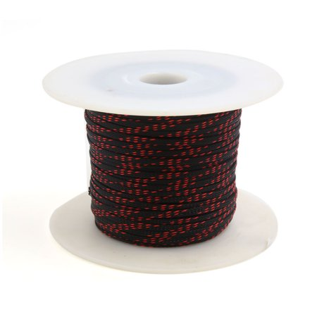 5mm x 100m Sheathing Expanding Braided Sleeving Cable Black Red for Car - image 1 of 1