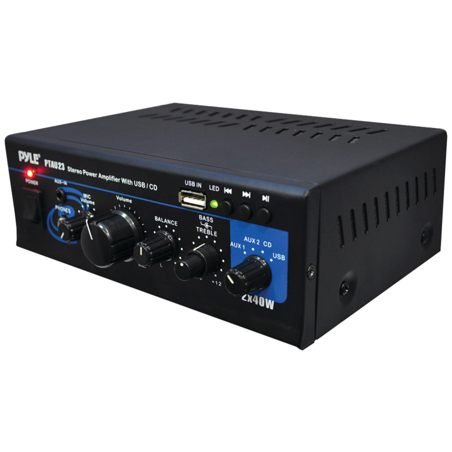 Pyle Home PTAU23 40-watt X 2 Mini Stereo Power Amp With Usb Reader