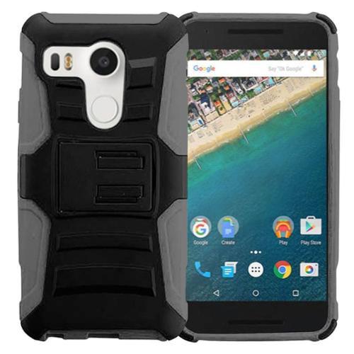 Insten Hard Hybrid Plastic Silicone Case w/Holster For LG Google Nexus 5X - Black/Gray