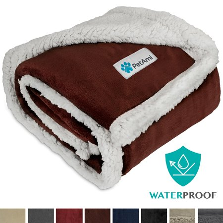 Premium Waterproof Soft Sherpa Pet Blanket by PetAmi | Cozy, Comfortable, Plush, Lightweight Microfiber, 100% WATERPROOF 30