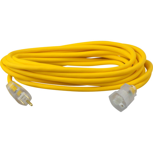 Coleman Cable 25' Yellow Jacket Lighted End Extension Cord