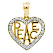 10kt White Two-tone Gold Womens Round Diamond Yellow Peace Heart Pendant 1 6 Cttw