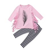 Little Girl Long Sleeve Feather Tassels T-shirt Striped Pants 2pcs Outfits Set 4T