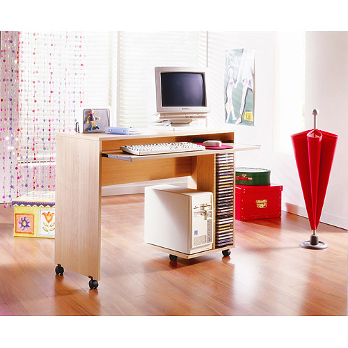 Mobile Computer Cart with Pullout Keyboard Tray, Natural