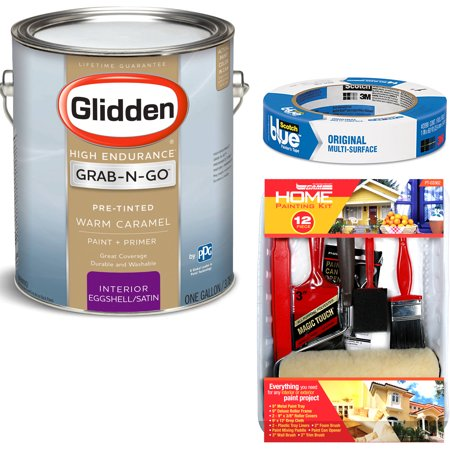 Reno Paint Mart >> Glidden High Endurance Grab-N-Go Warm Caramel Eggshell Interior Paint 1 Gallon with ScotchBlue