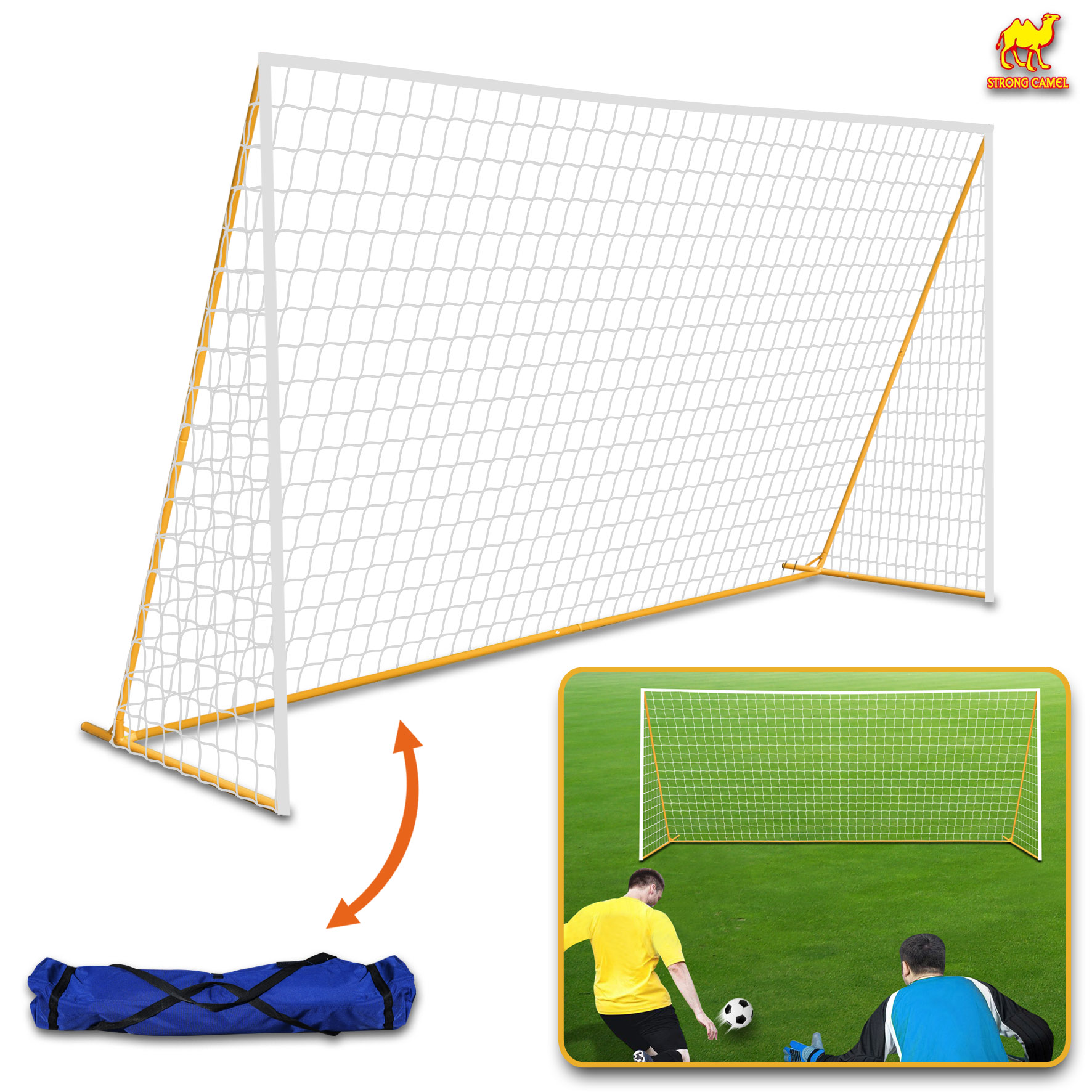 Strong Camel 12' x 6' Portable Soccer Goal Football Goal Sport Training Sets Quick Set-Up(White Net)