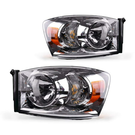 Headlight Assembly for 2006 2007 2008 Dodge Ram 1500 2500 3500 Pickup Replacement Headlamp Driving Light Chromed Housing Amber Reflector Clear Lens