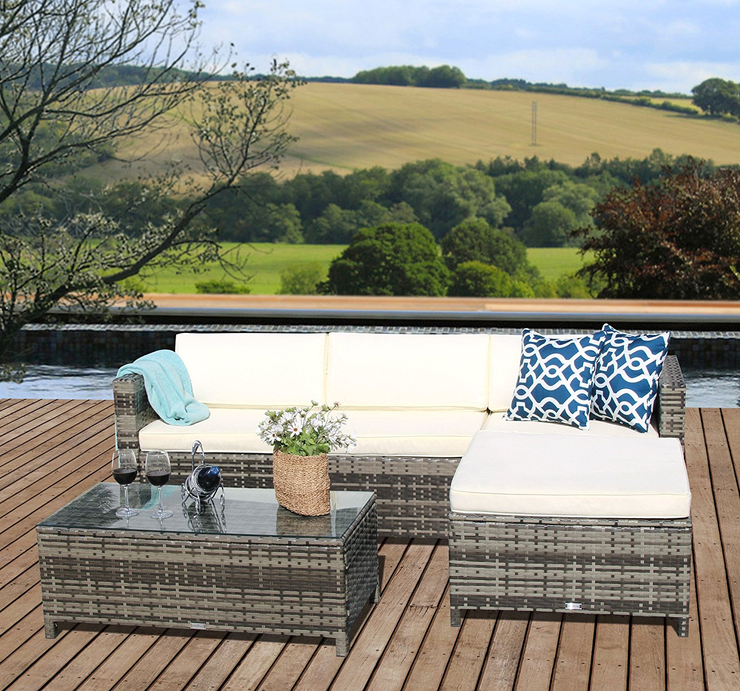 5pcs Patio Outdoor PE Wicker Rattan Sectional Furniture Set With Cream  White Seat And Back Cushions