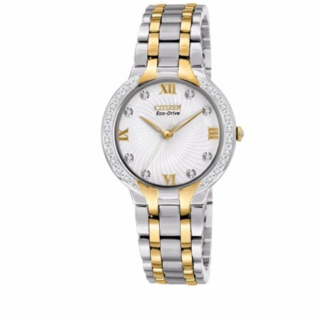 (Citizen Women's Eco Drive EM0124-57B Two-Tone Stainless Steel Bracelet with White Diamond Accented Dial Watch)