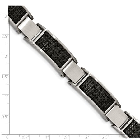 Stainless Steel Brushed Black IP Textured Link with .50in Extender Bracelet 8in - image 3 de 4