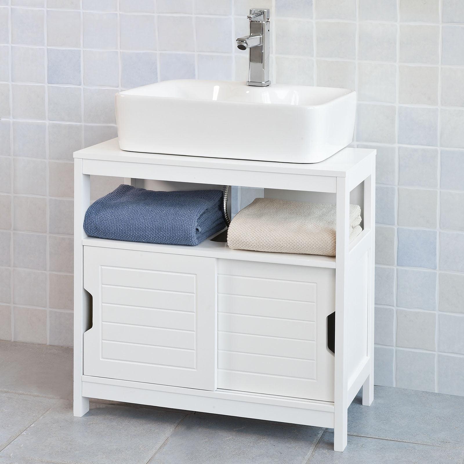 Haotian FRG128W White Under Sink Bathroom Storage Cabinet with
