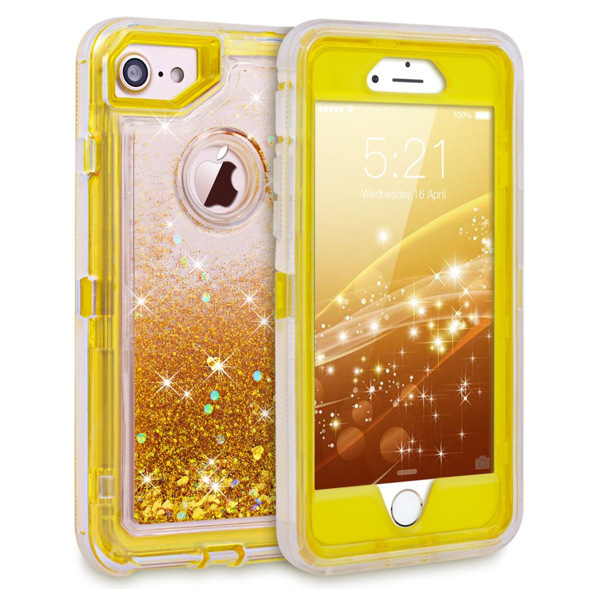 Apple IPhone 8 / IPhone 7 / IPhone 6 / 6S Tough Defender Sparkling Liquid Glitter Heart Case With Transparent Holster Clip