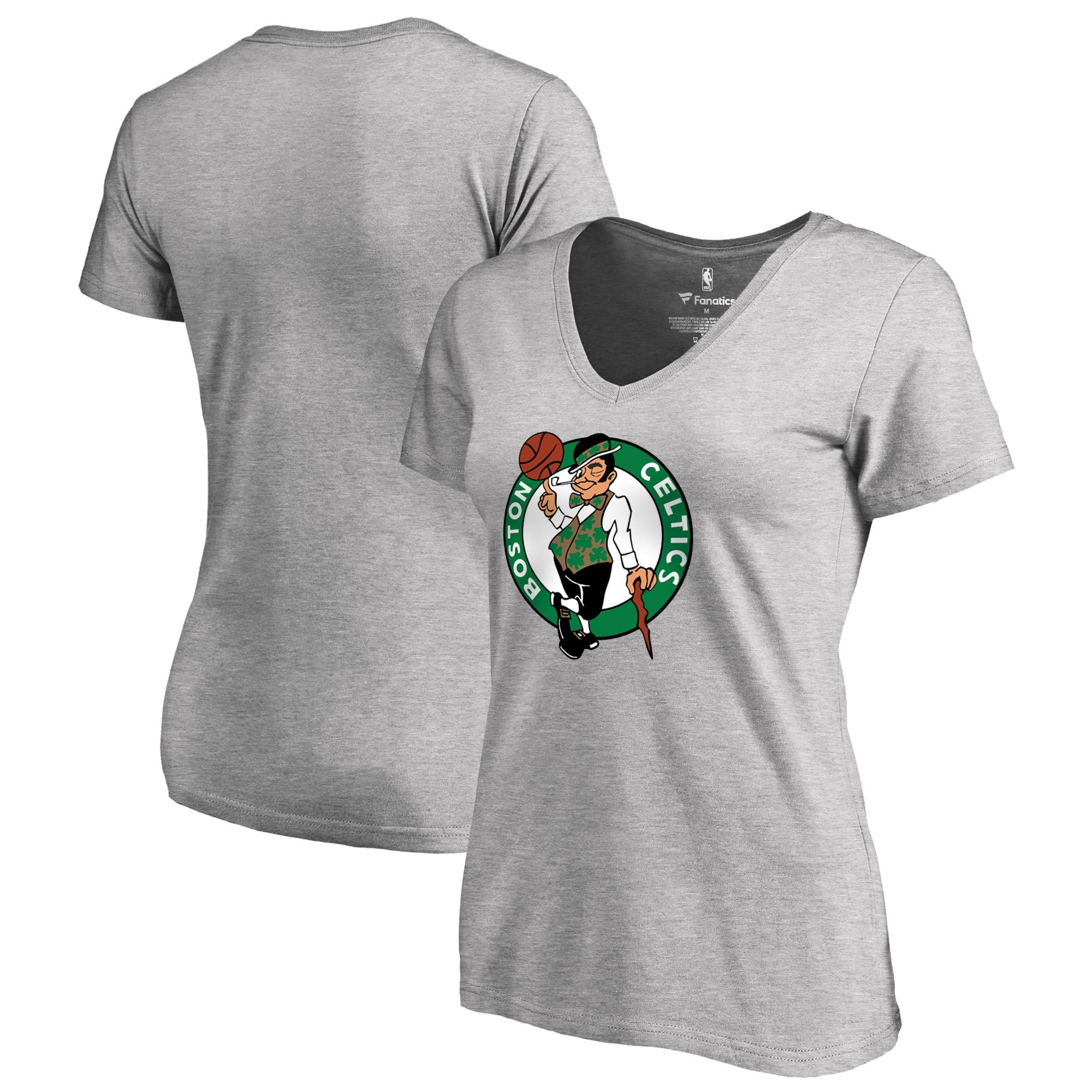 Boston Celtics Fanatics Branded Women's Plus Size Primary Logo V-Neck T-Shirt - Heathered Gray