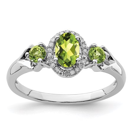 925 Sterling Silver Green Peridot Diamond Band Ring Size 8.00 Gemstone Gifts For Women For Her