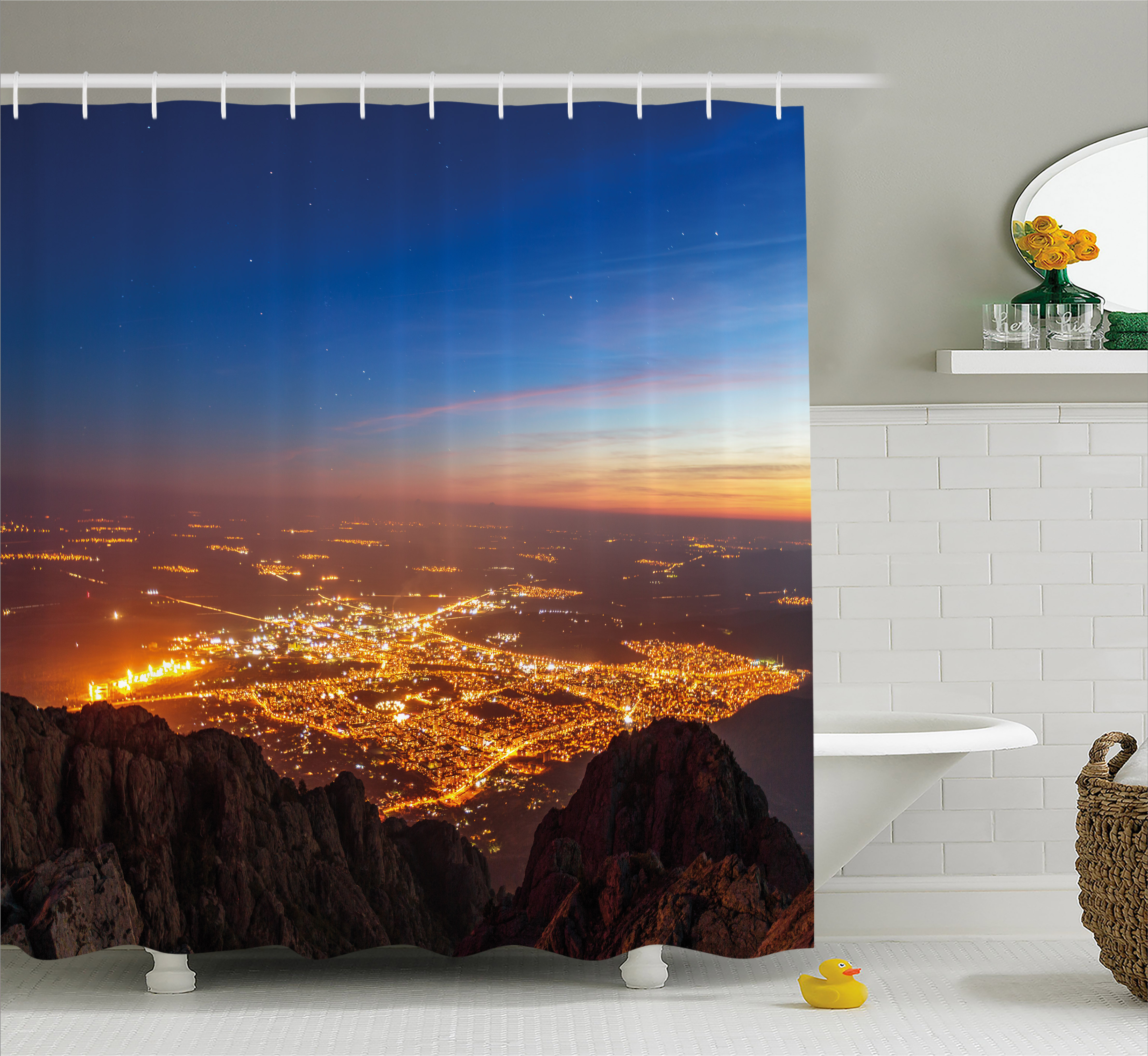 Landscape Shower Curtain, City Lights at Night Time Twilight Skyline Panoramic View over Mountaintop, Fabric Bathroom Set with Hooks, 69W X 70L Inches, Brown Orange Blue, by Ambesonne