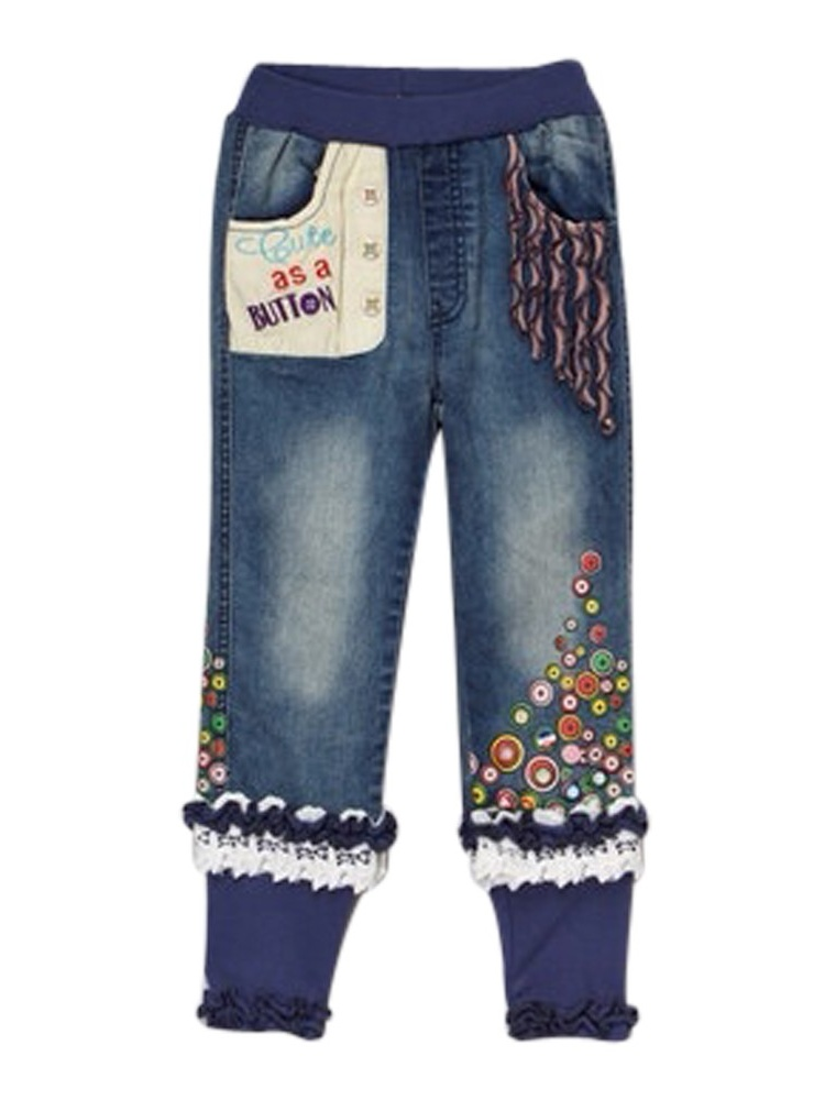 """Rock'nStyle Baby Girls Blue Trimmed """"Cute As a Button"""" Denim Pants 18-24Mo"""