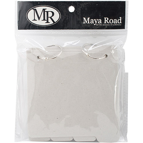 "Maya Road Chipboard Album with Tabs 5"" x 5.25"", Square: 8 Pages and 2 Rings"