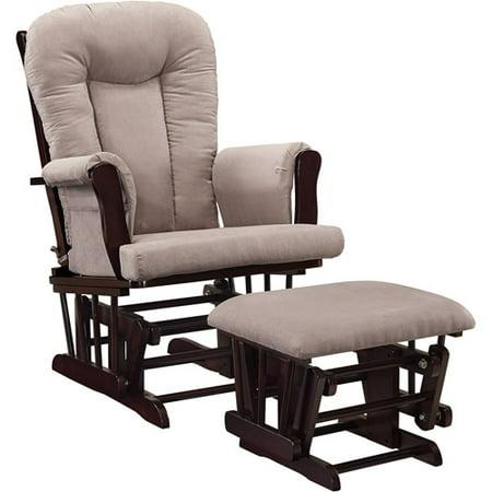 Wondrous Baby Relax Glider Rocker And Ottoman Espresso With Gray Cushions Inzonedesignstudio Interior Chair Design Inzonedesignstudiocom