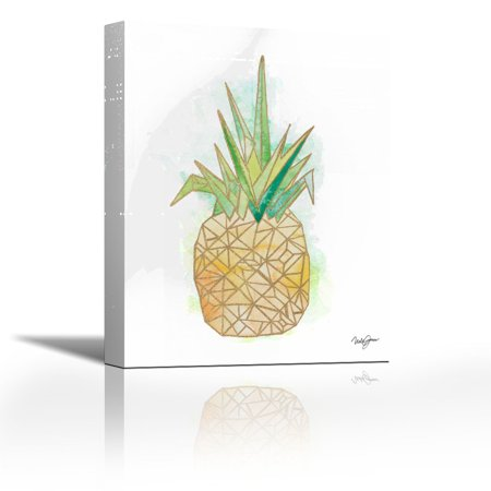 Watercolor Origami Pineapple Contemporary Fine Art Giclee On